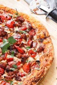 Pizza with Sausage and Sweet Peppers.