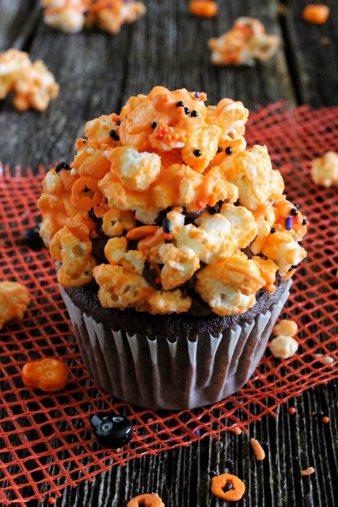 Chocolate Popcorn Halloween Cupcakes