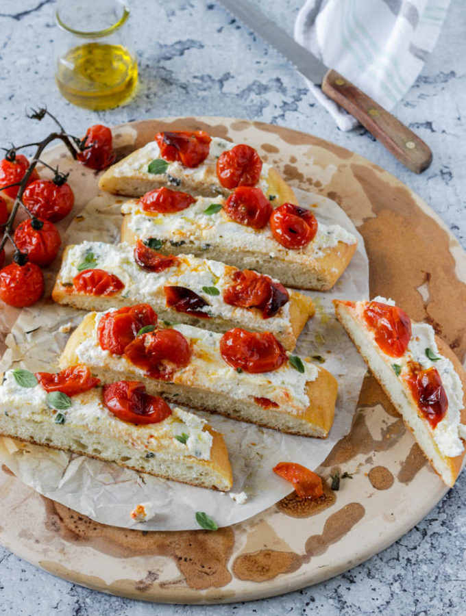 Herbed Ricotta and Roasted Tomato Focaccia