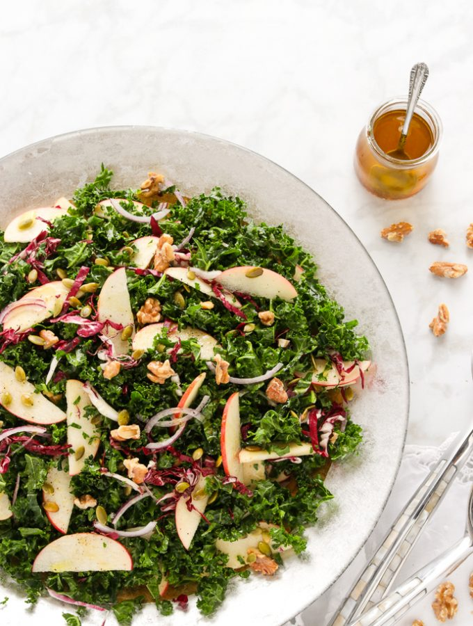 Easy to make Apple Walnut Kale salad with apple cider vinaigrette.
