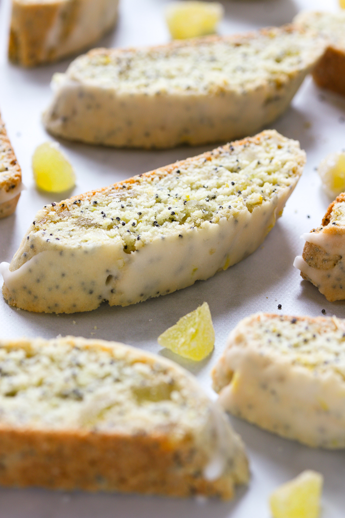 Candied Ginger Lemon and Poppy Seed Biscotti