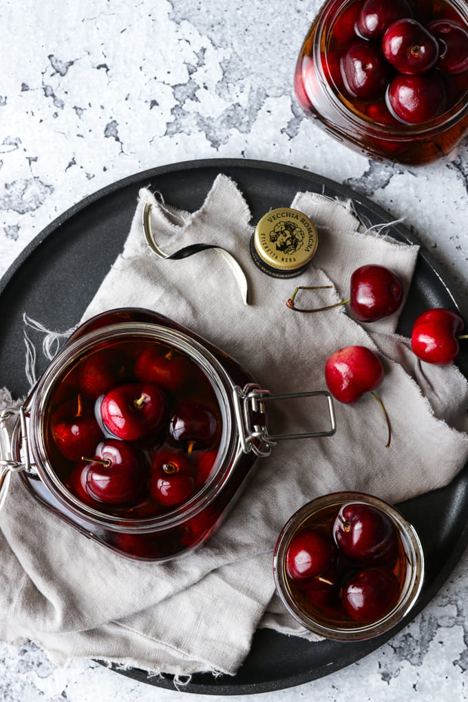 Cherries soaking in brandy.