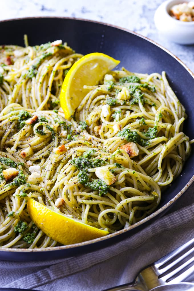 Kale Walnut Pesto with Spaghetti