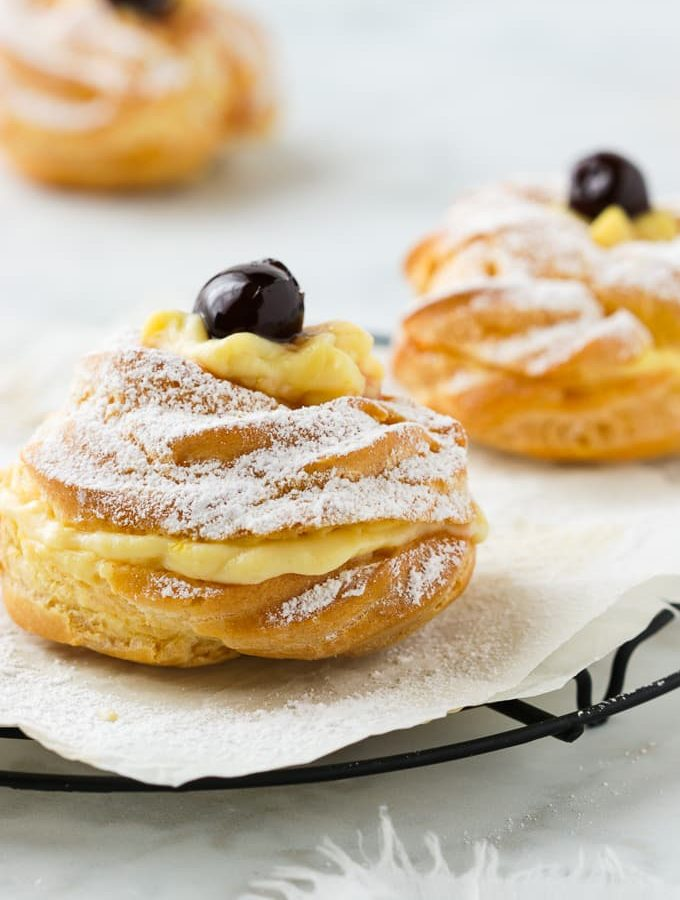 Oven baked Zeppole filled with custard.